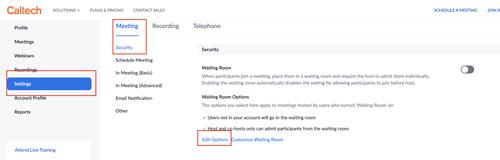 Zoom security settings