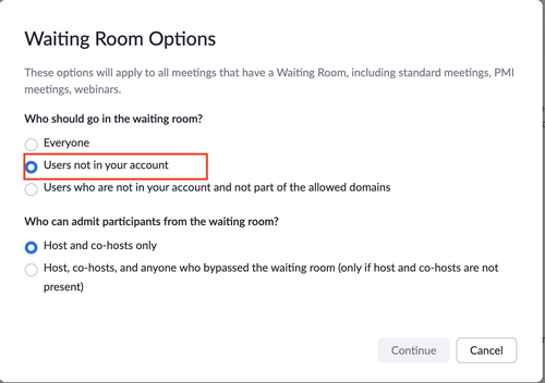 Zoom security waiting room options
