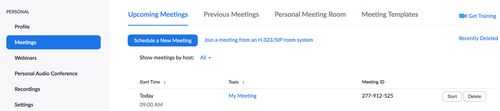 start a zoom meeting
