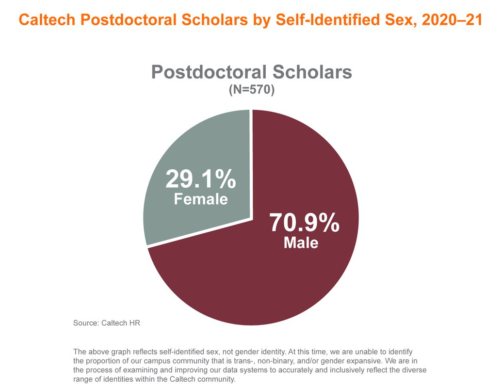 Pie charts showing gender distribution of Caltech postdocs Fall 2020: 29.1% female 70.9% male