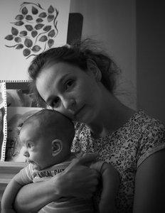 Anastasia holding her baby