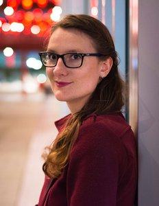 Monika outside at night