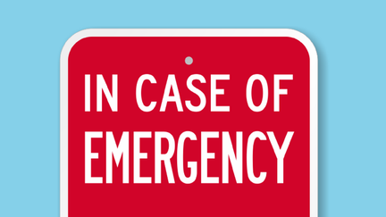 red sign with in case of emergency