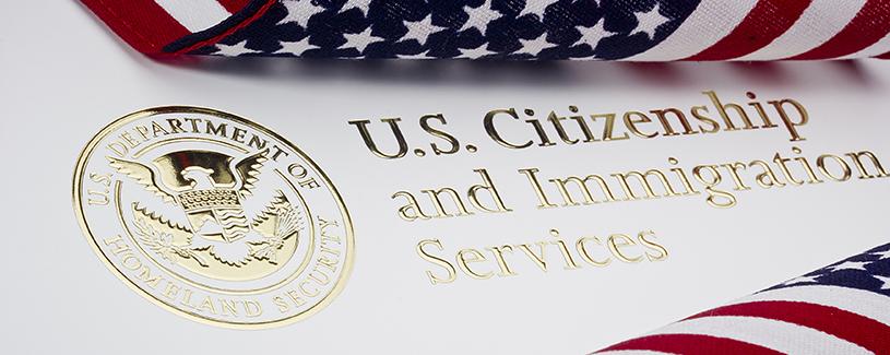 Homeland security logo and unites states flag