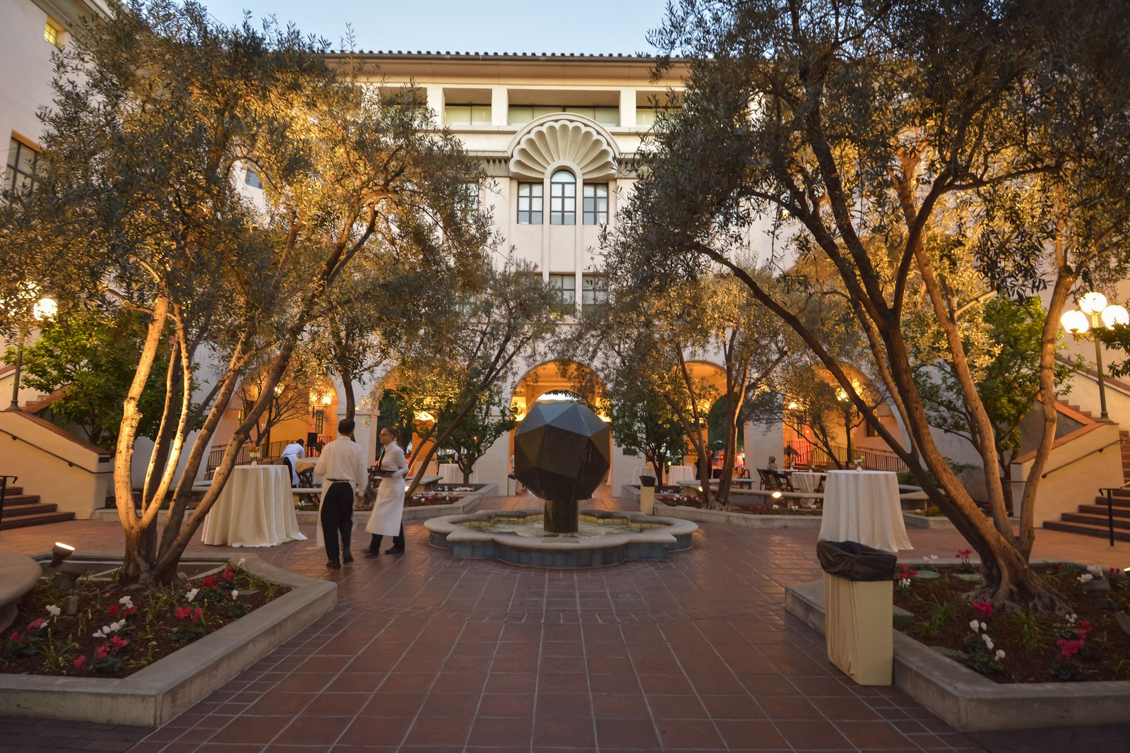 Beckman breezeway in the  evening