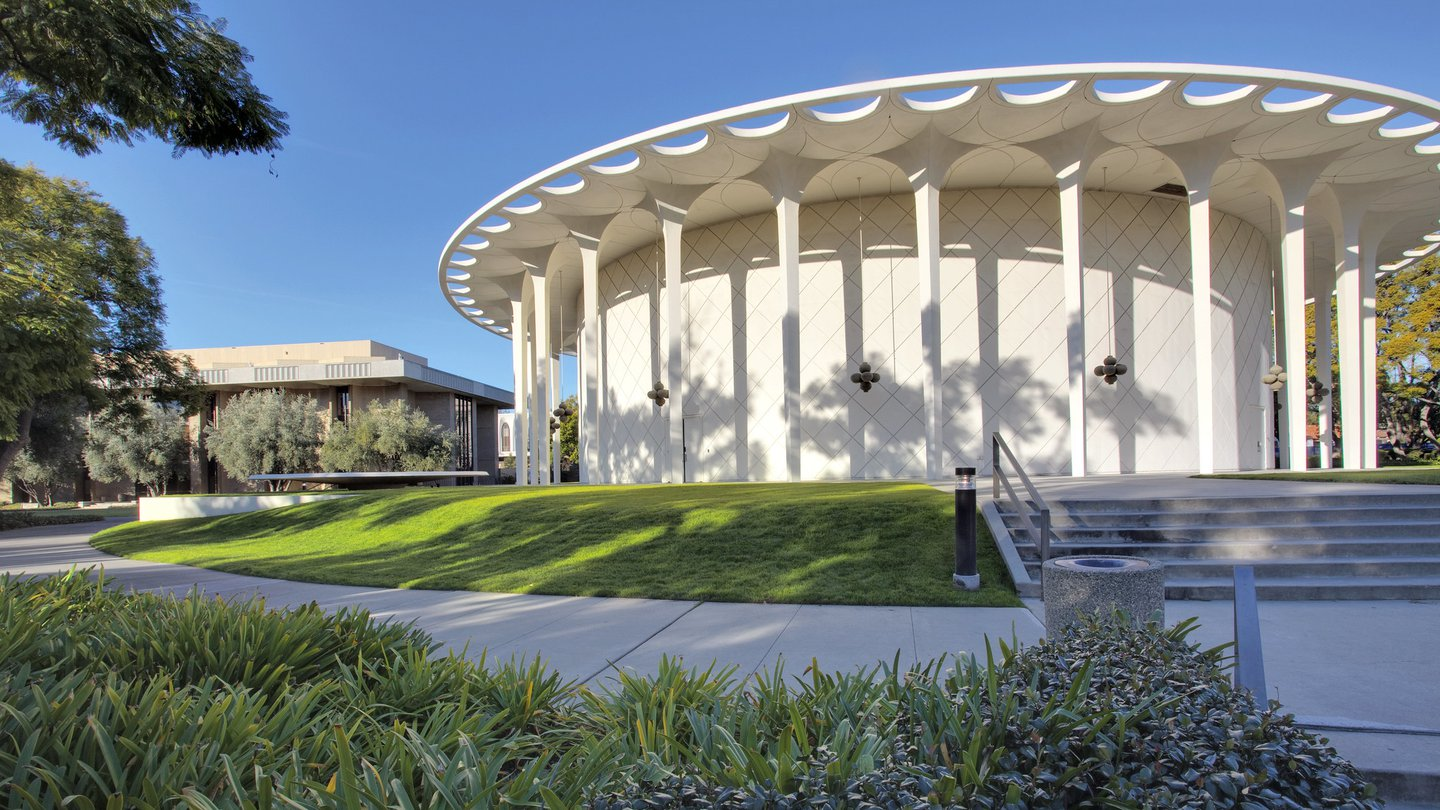 Beckman Auditorium shown in the daylight