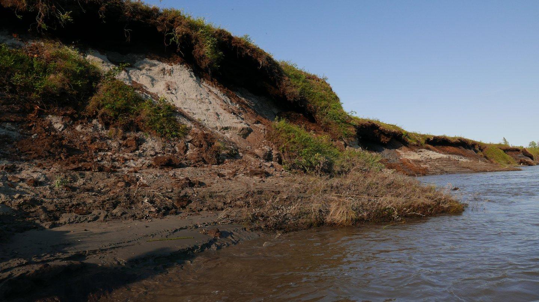 Riverbank erosion in permafrost