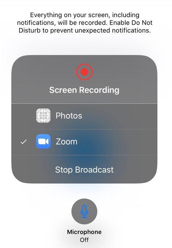 Start Broadcast Zoom iPad