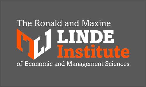 Orange and white Linde Institute logo