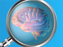 Illustration of a magnifying glass over a brain.