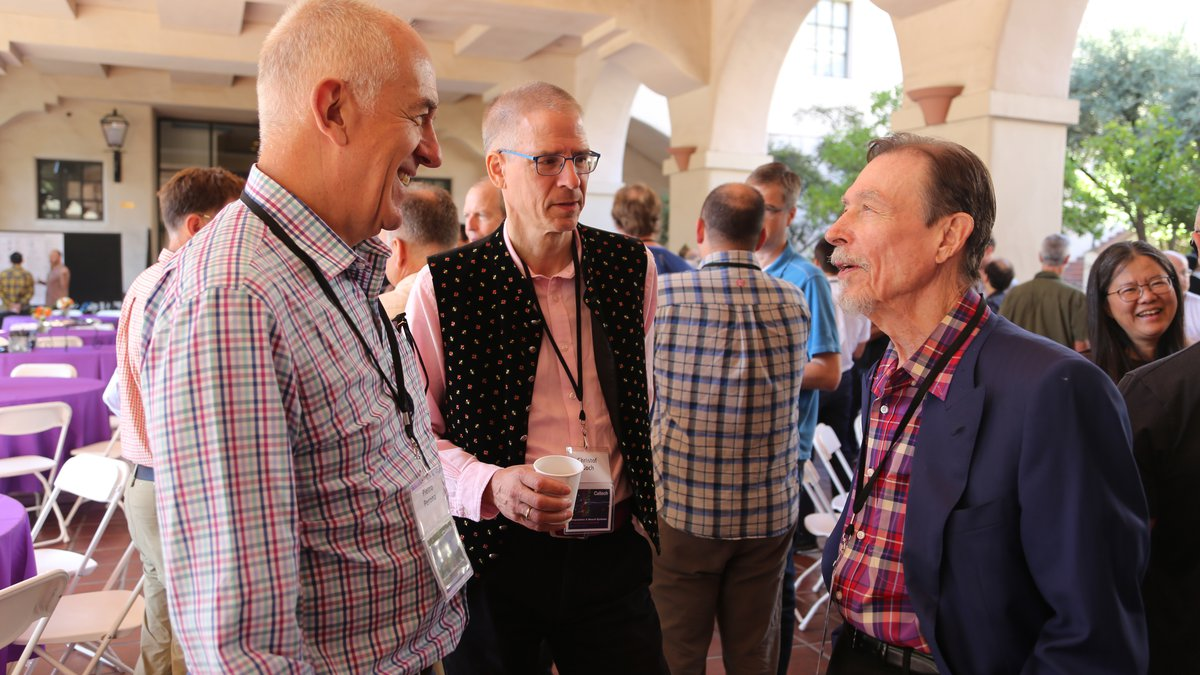 Photograoph of the CNS 30 year celebration with Pietro Perona, Christof Koch and Carver Mead