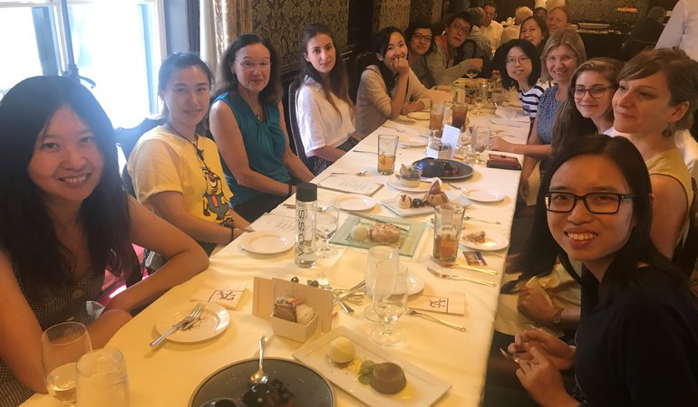 CWiN group, faculty, postdocs and graduate students, having lunch at the Atheneum.