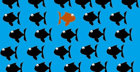 Illustration of an orange fish swimmng against a tide of black fish