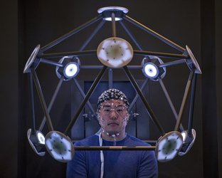 Human subject in brain mapping experiment
