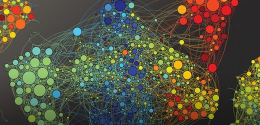 Artists depiction of memories, bundles of colored circles connected with lines