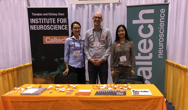Caltech Neuroscience recruitment booth at 2019 SfN Graduate Fair in Chicago.
