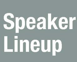 "Grey box with white words ""Speaker Lineup"""