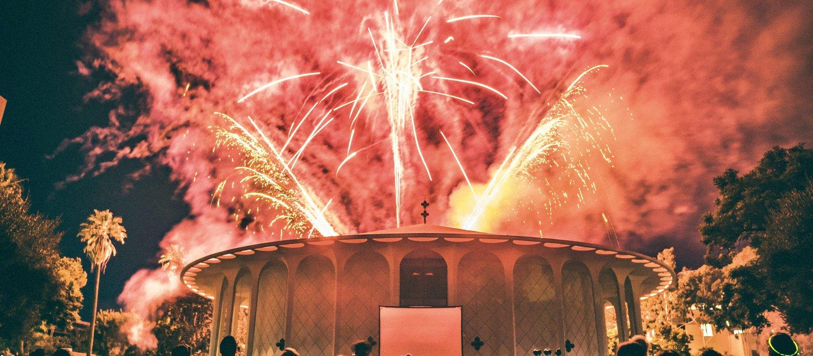 Fireworks above Beckman Auditorium