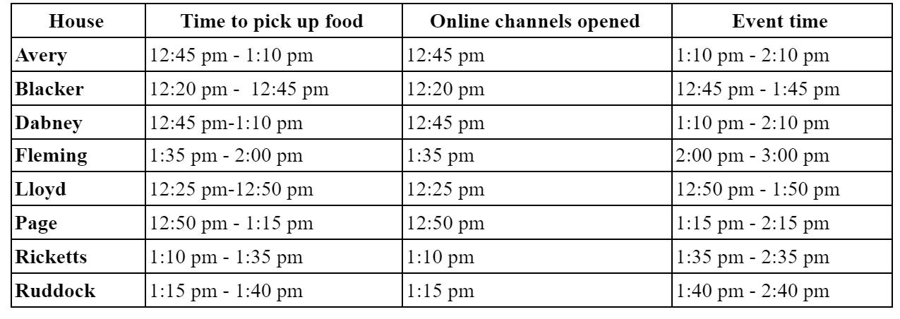 Linner Schedule