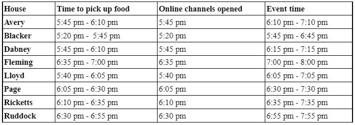 Dinner Schedule