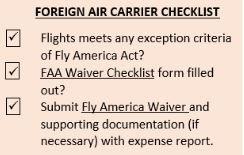 foreign air carrier checklist