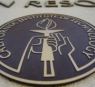 Caltech seal on HR building