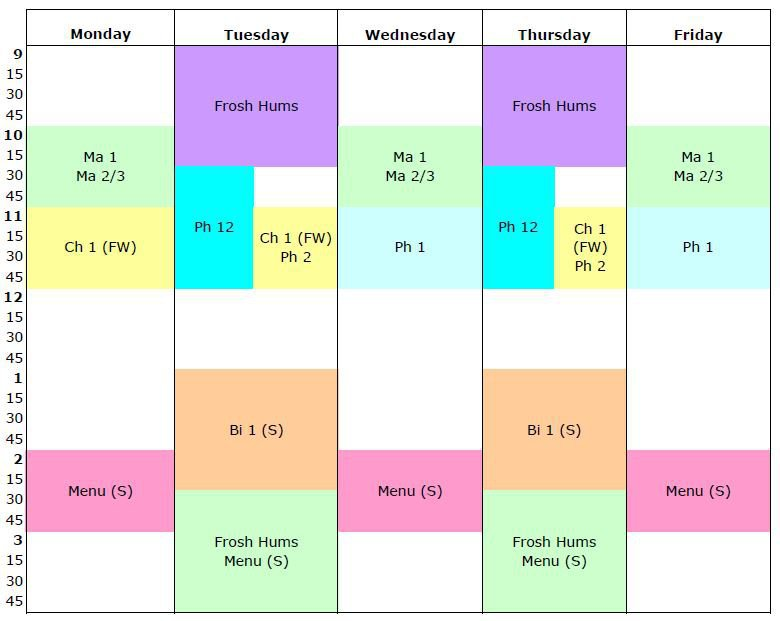 grid calendar for core courses