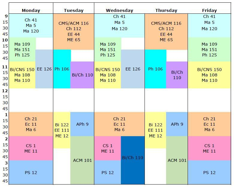 grid calendar for fall term