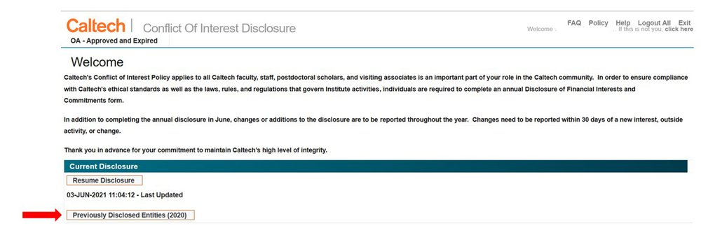 screenshot of COI system - Previously Disclosed Entities