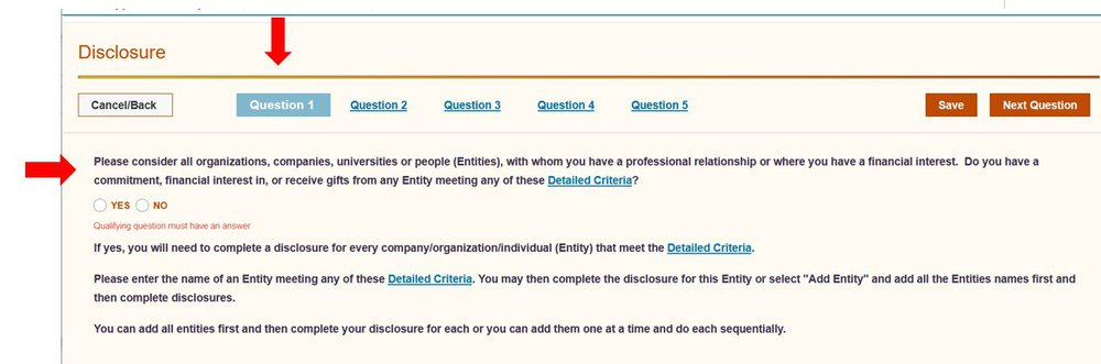 screenshot of COI question 1