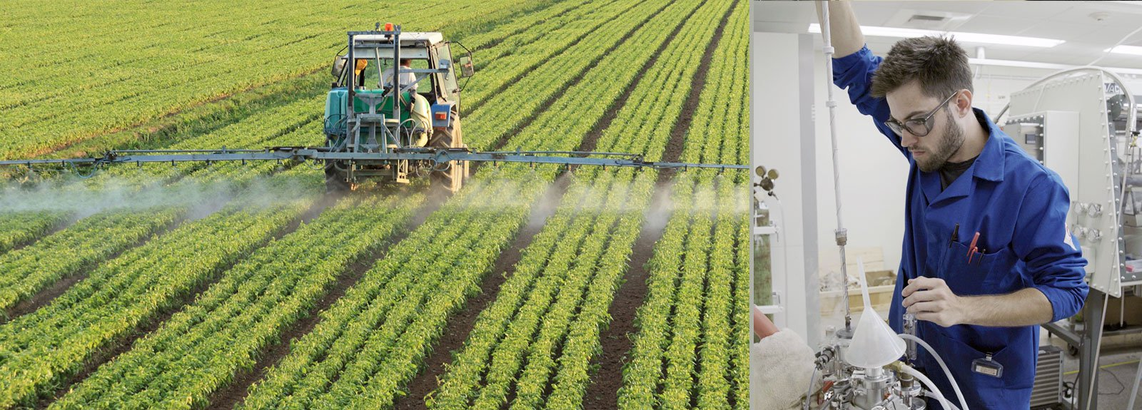 Tractor Spraying Fields (L); Resnick Fellow Researching Catalysts for N2 Fixation