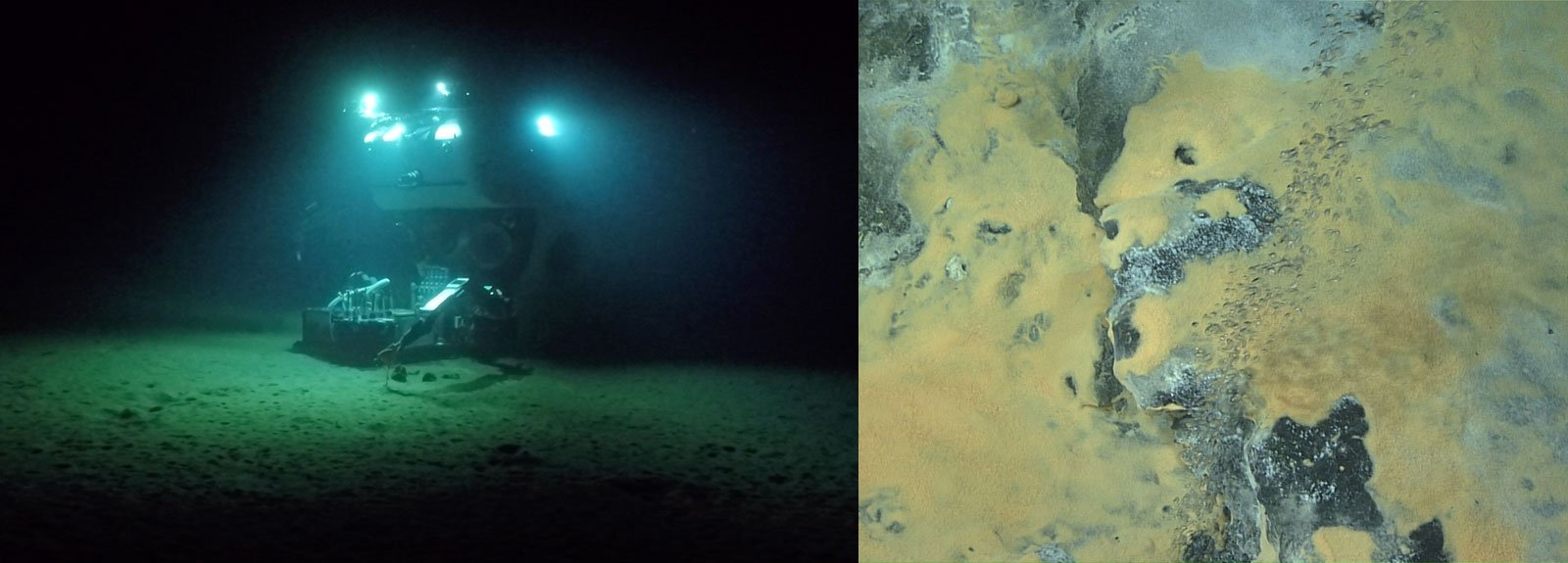 L: human occupied vehicle Alvin sitting on the seafloor at a deep sea field site off of Costa Rica. R: Research expedition image of  thick orange and white sulfide-oxidizing microbial mats growing on authigenic carbonate and a large methane bubble plume sourced from a fissure in the carbonate -Images courtesy Victoria Orphan