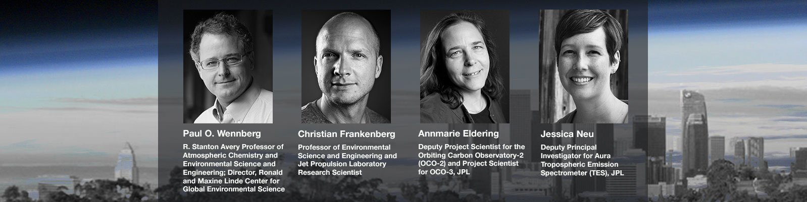 Webinar panelists and moderator headshots on a NASA image of Earth's atmosphere from space overlaid with city skyline image
