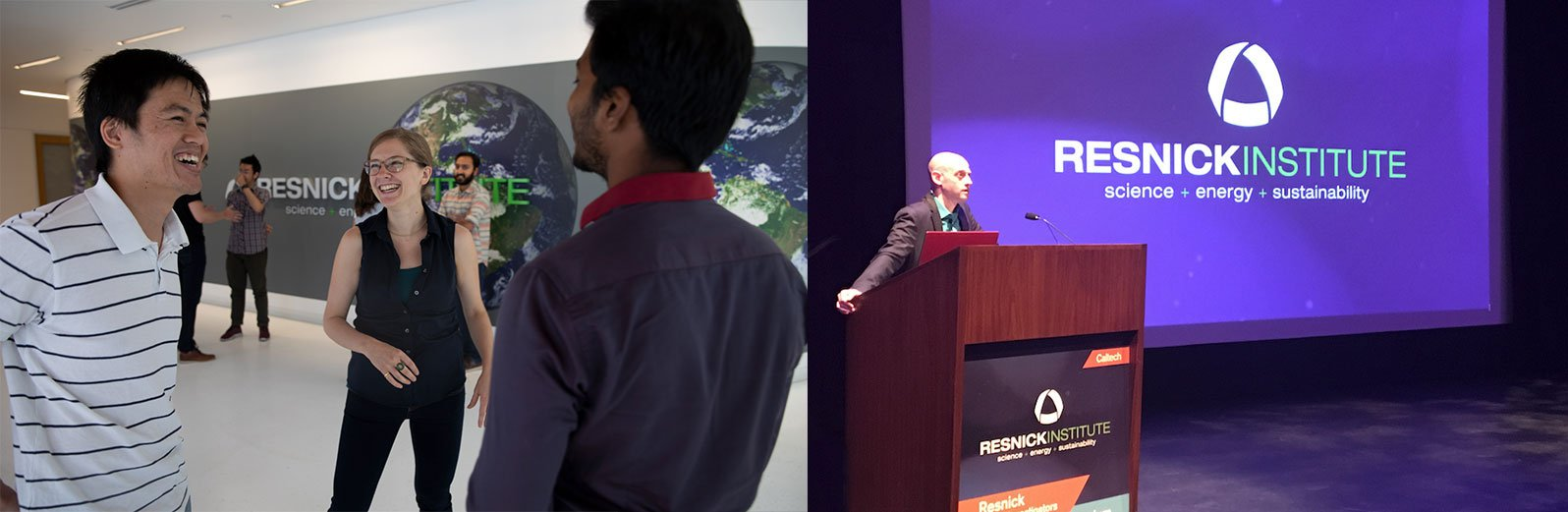 Resnick Fellows Meet up in Lobby (L) Opening Welcome at Young Investigator's Symposium (R)