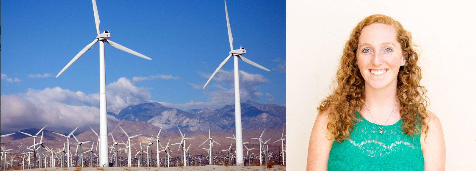 (L) Wind turbines (R) Grad student Jackie Dowling