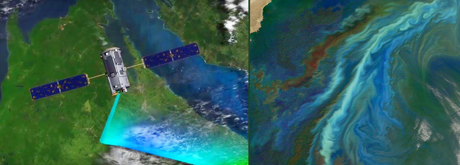 Left: 0:01 / 0:23 OCO-2 Animation: Using Instruments Right:Plankton Blooms viewed from Space