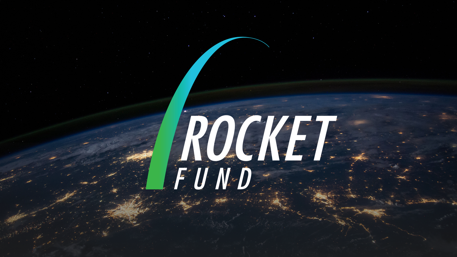 Rocket Fund logo on an image of Earth at Night
