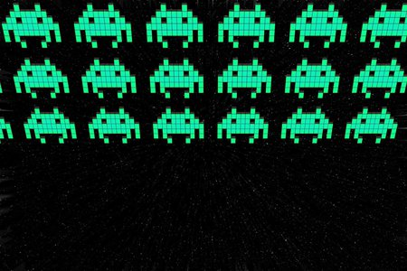 "Rows of small pixelated ""space aliens"""