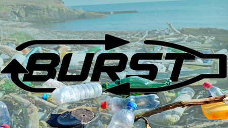 "Stylized word ""BURST"" in black over a background of recyclable plastic waste"