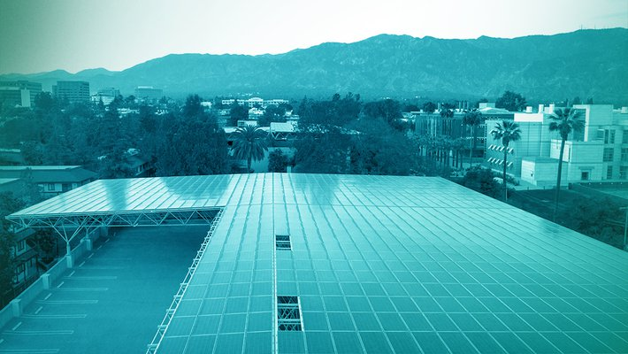 Solar panels on the roof of a Caltech parking garage