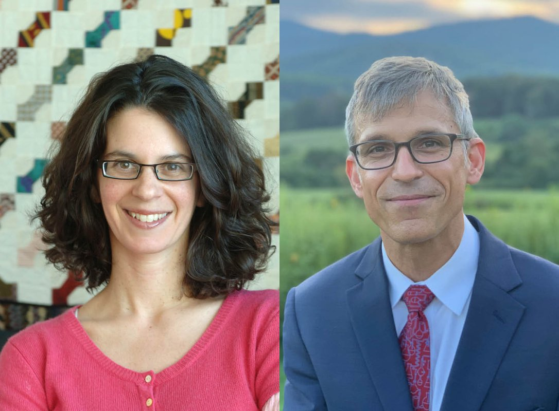 A diptych portrait of Dianne Newman (on the left) and Jonas Peters (on the right).