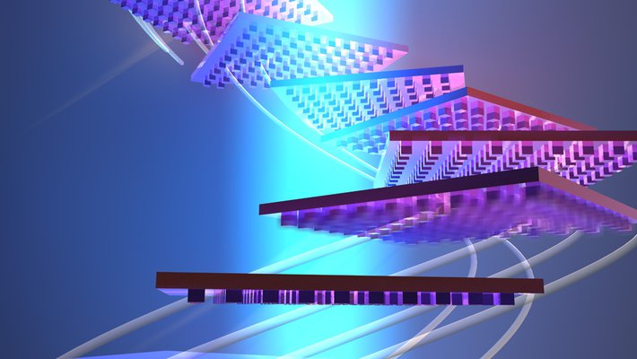 Conceptual illustration of a nano-patterned object reorienting itself to remain in a beam of light.
