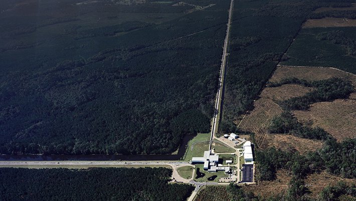 Aerial photograph of LIGO Livingston facility
