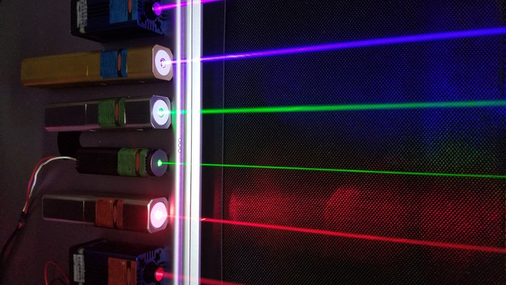 Several lasers emit light in different colors