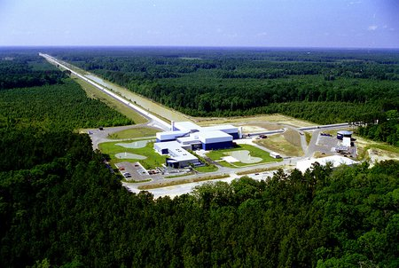 aerial photo of the LIGO facility in Livingston, Lousiana