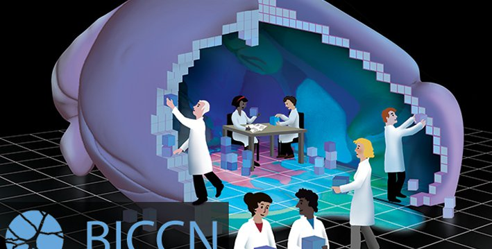 An illustration of people in lab coats working together to build a brain with building blocks