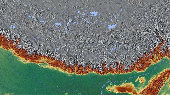 A satellite image of the Himalayas