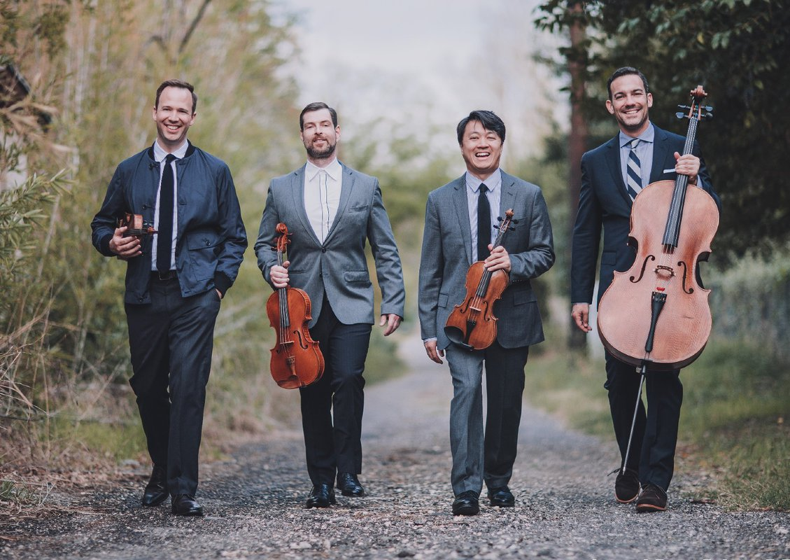 group photo of the chamber music group the Miró String Quartet