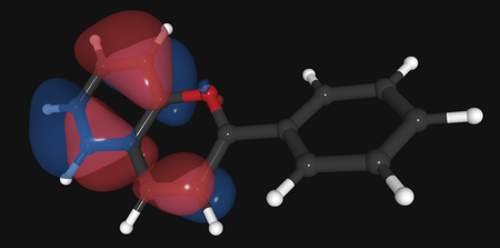 A computer rendering of a molecule. It appears like balls connected with sticks. There are lumpy clouds surround it that represent electron orbitals.