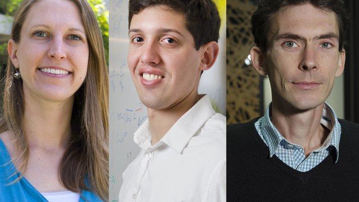 Triptych of headshots: Heather Knutson, Austin Minnich, and Thomas Vidick